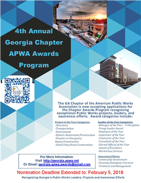 Recognizing Public Works Projects, Leaders, and Awareness Efforts - Submit Nominations Now!